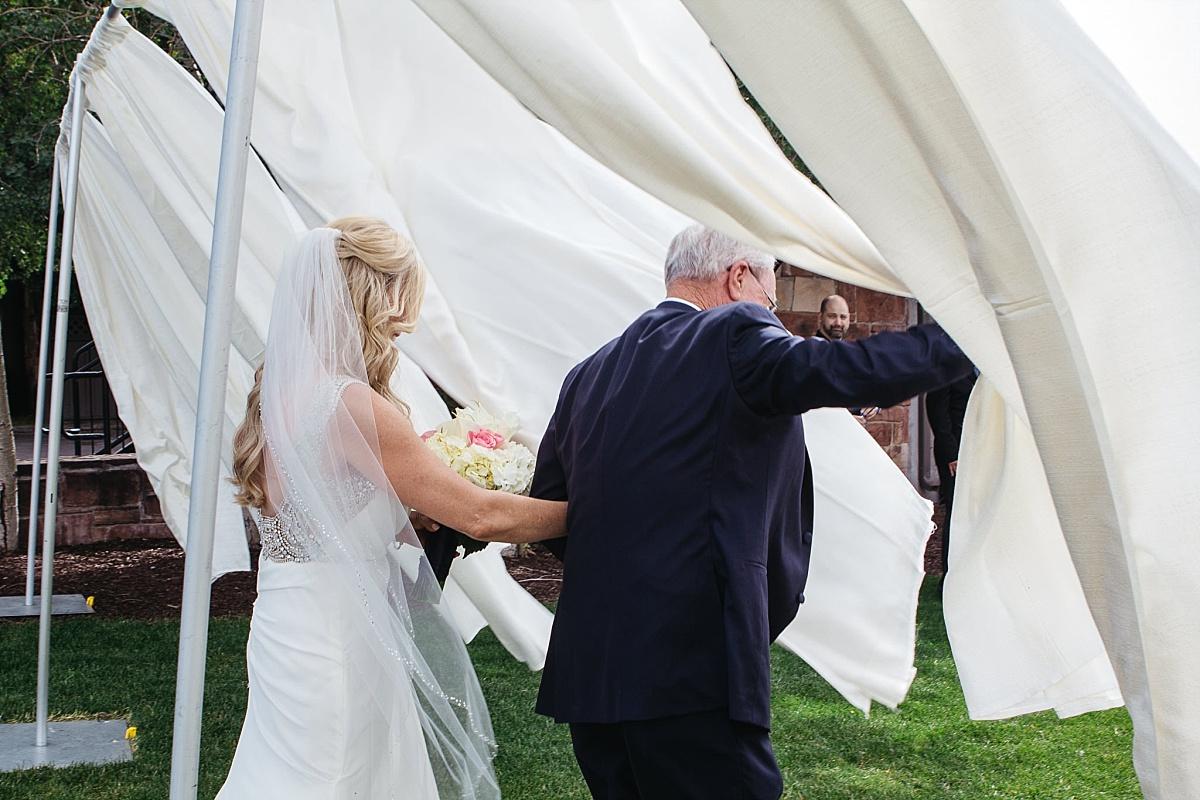 Jeremy Ranch Wedding Dad walks bride down the aisle