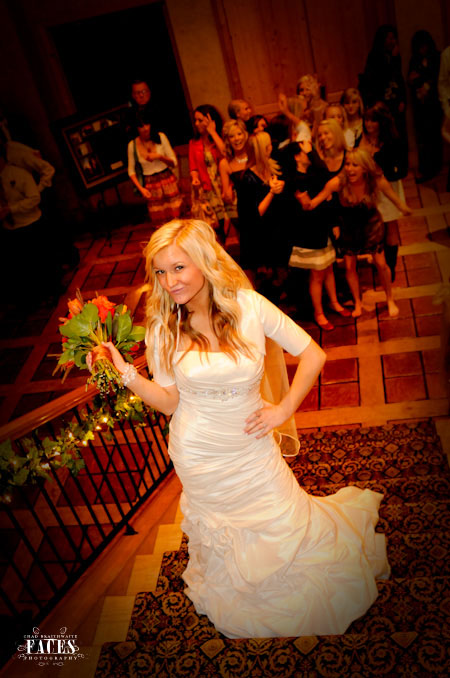 Bride getting ready to toss the bouquet