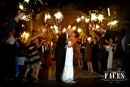 Celebrating the Bride and Groom with sparklers at wedding reception