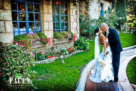 Bride and groom kissing at La Caille