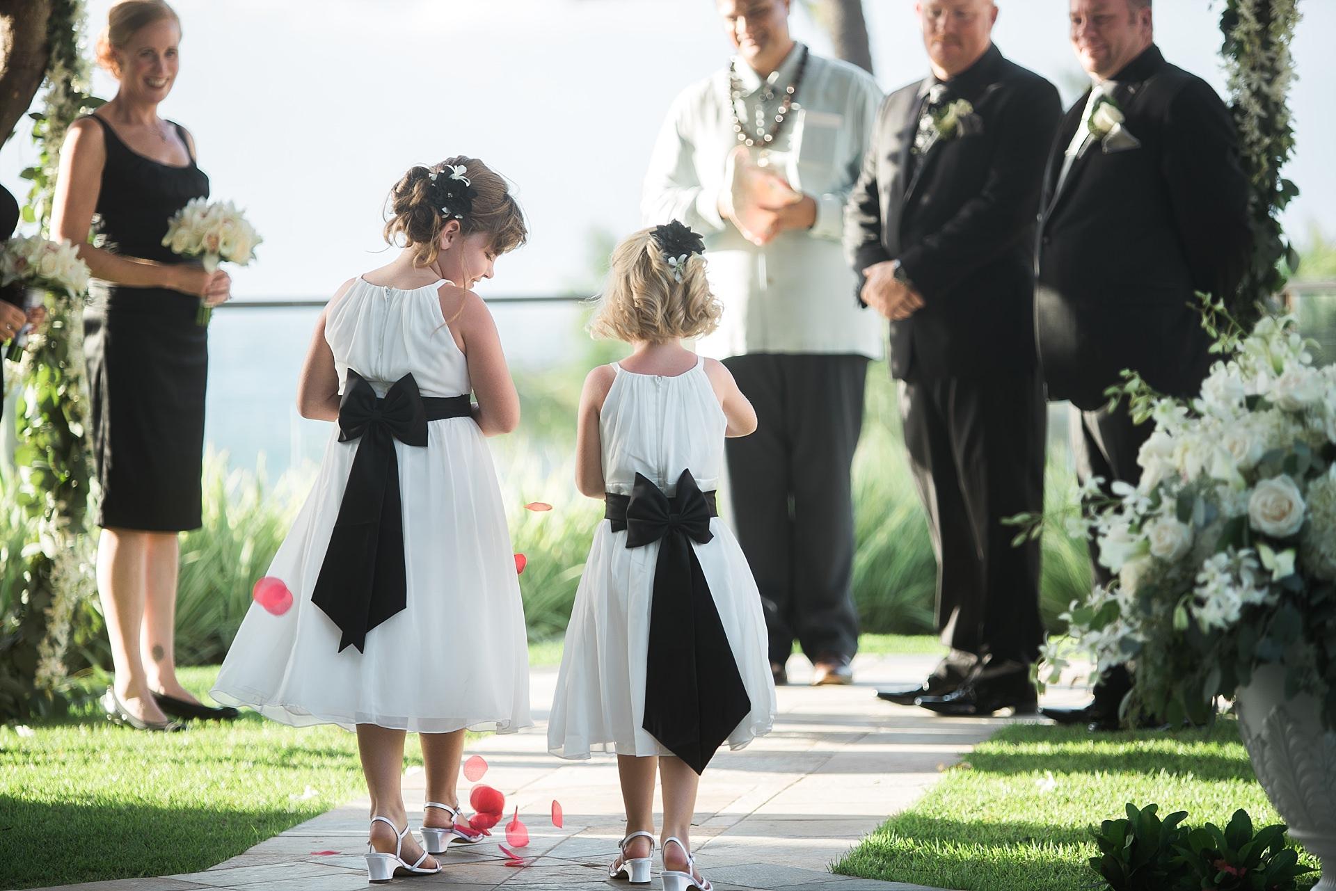 Maui Wedding Four Seasons Resort Girls Walking Down the Aisle