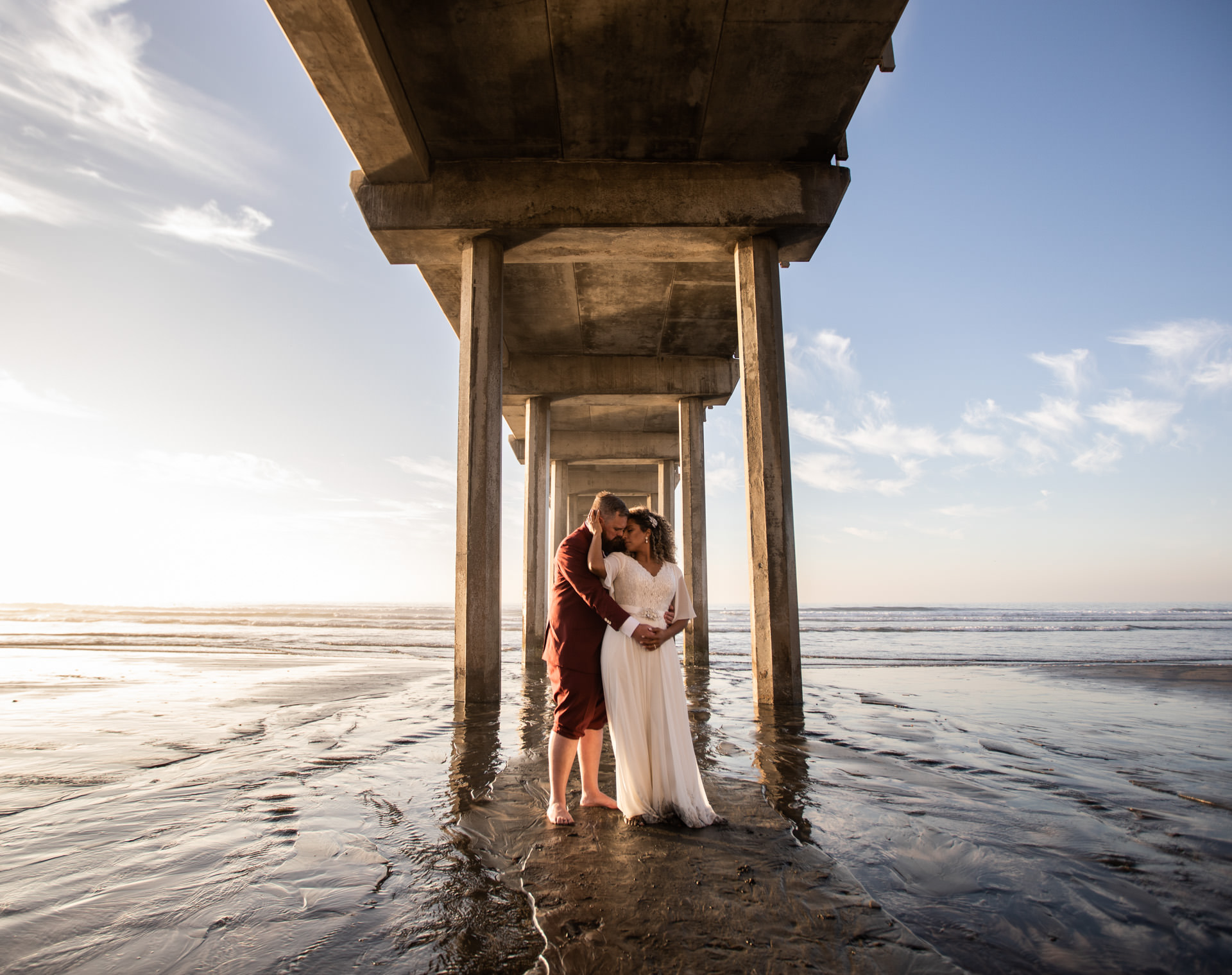 Gerusa and Eric Up Close at Scripps Pier Beach Wedding Faces Photography