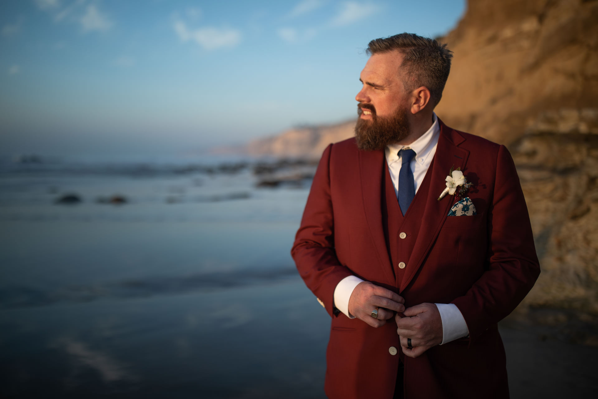 Eric La Jolla Groom Portrait San Diego Beach Wedding Sunset by Faces Photography