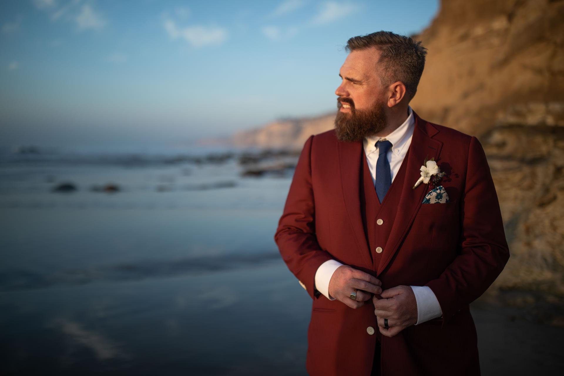 Eric La Jolla Groom Portrait San Diego Beach Wedding Sunset by Faces Photography