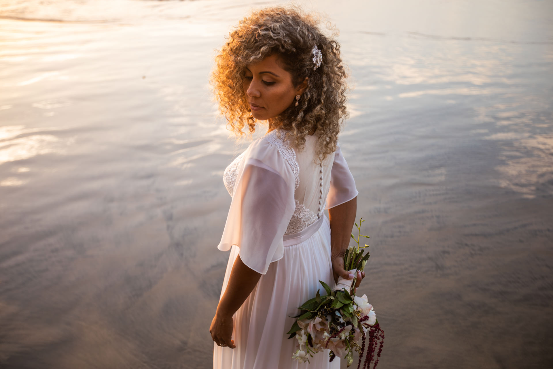 Gerusa Bridal Portrait La Jolla San Diego Beach Wedding Sunset by Faces Photography