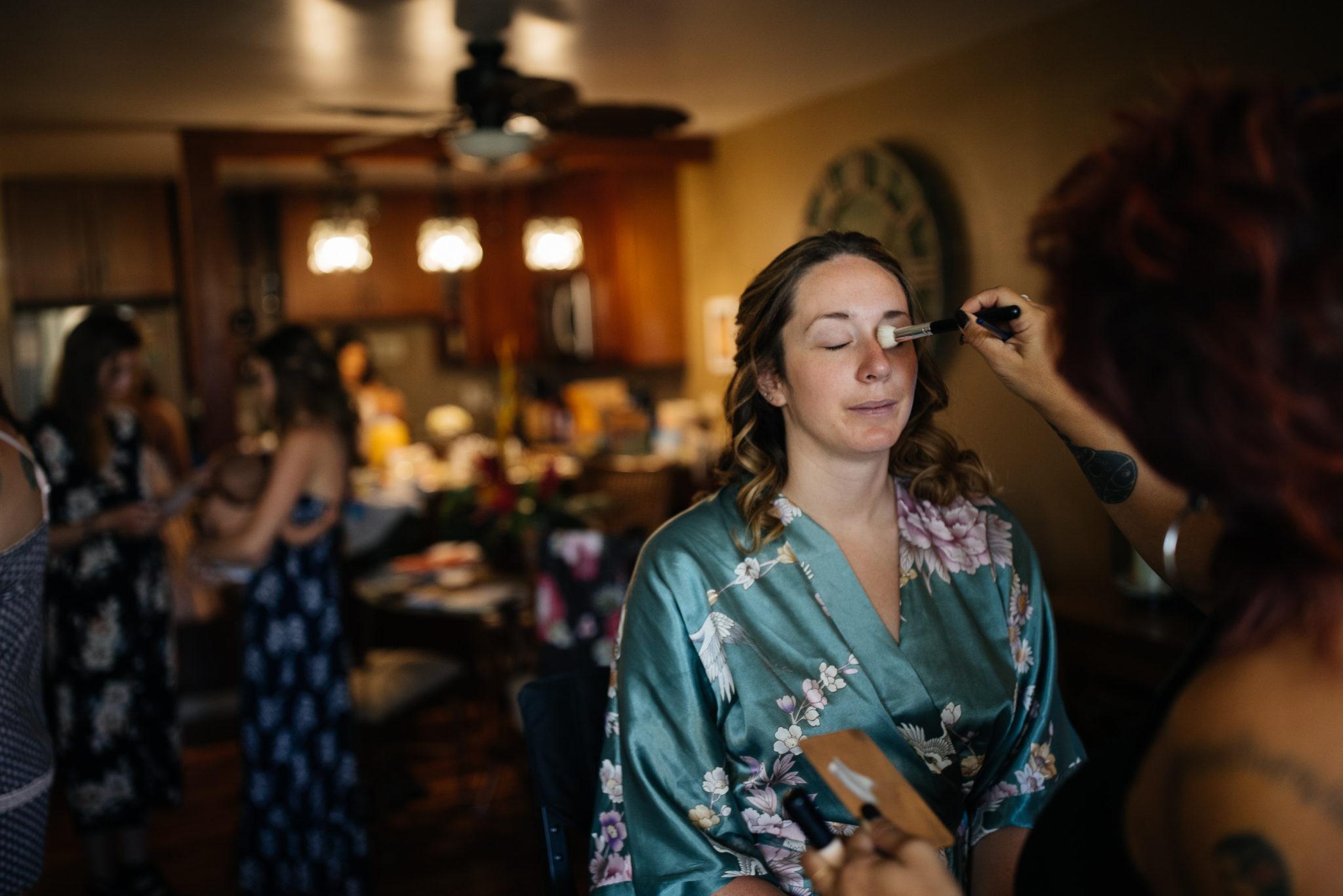 Bride Getting Ready Maui Hawaii Wedding