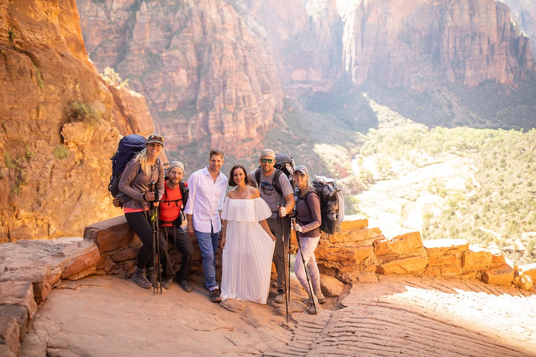 Angels Landing Hike Before Wedding Portraits