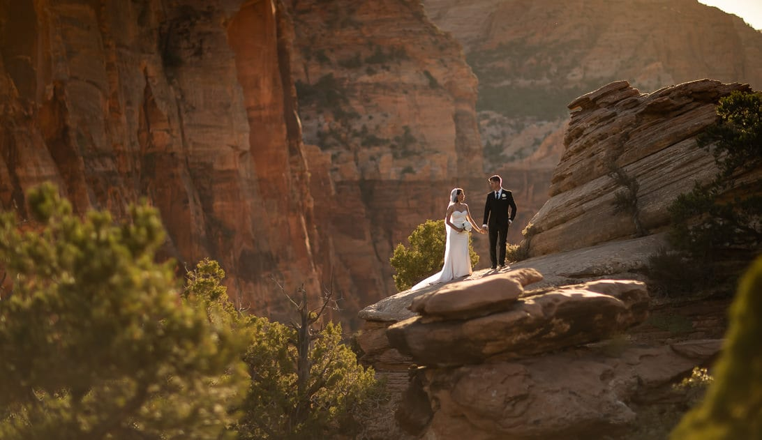 Wedding Portraits on Canyon Overlook Zion