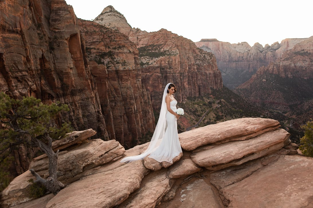 Bridal Portraits on Canyon Overlook Zion