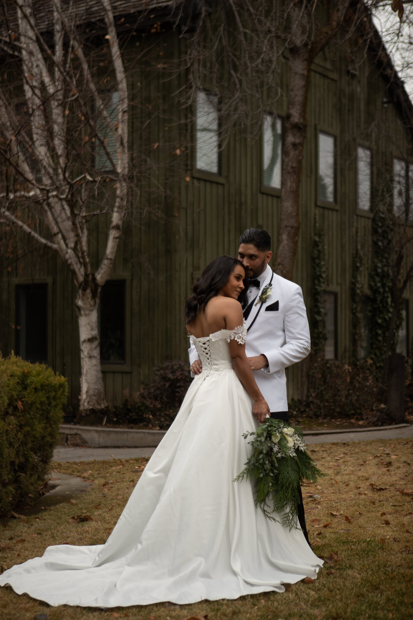 First Look Photos Winter Wedding