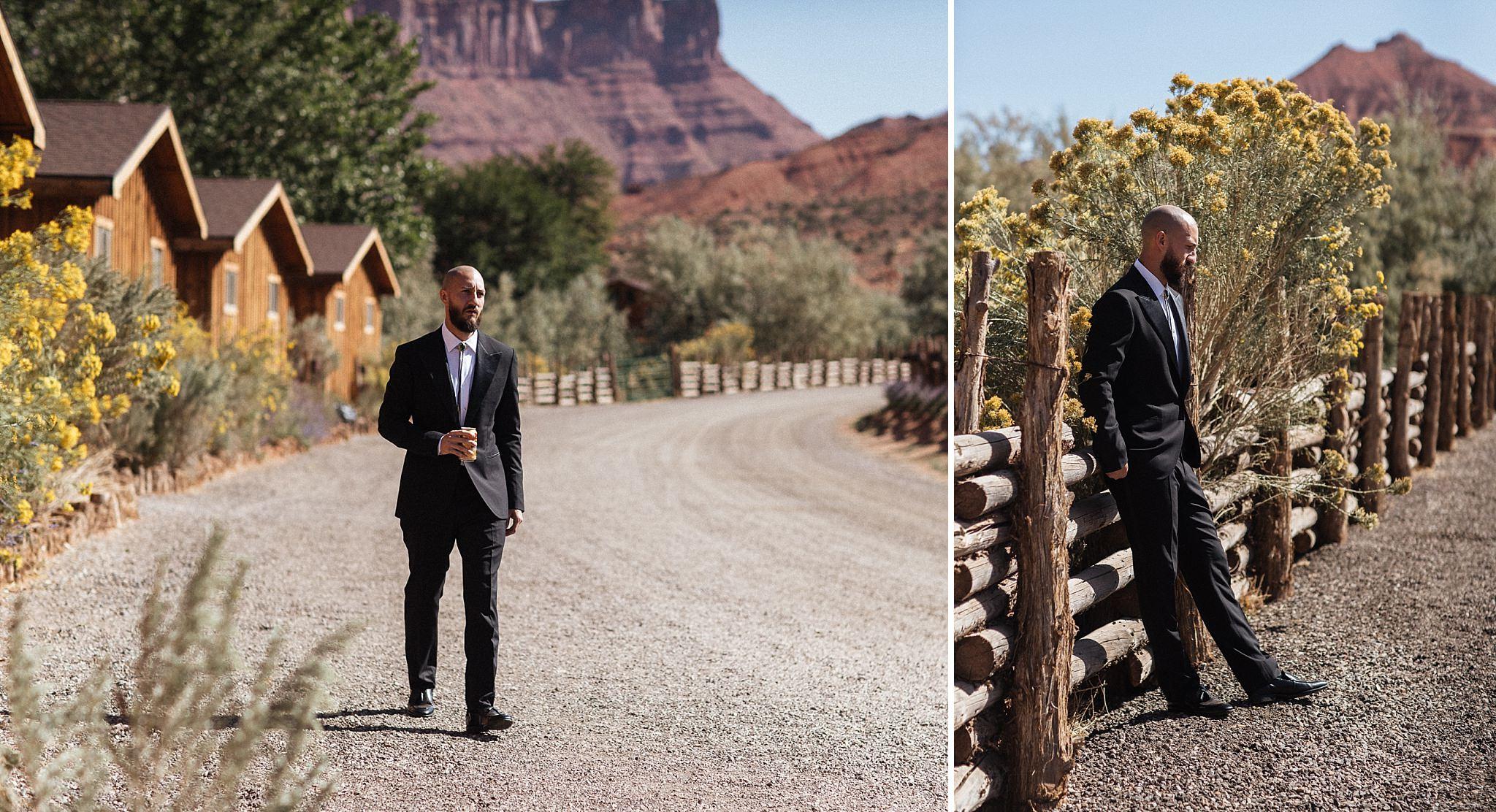 Groom Portraits at Red Cliffs Lodge Moab Utah