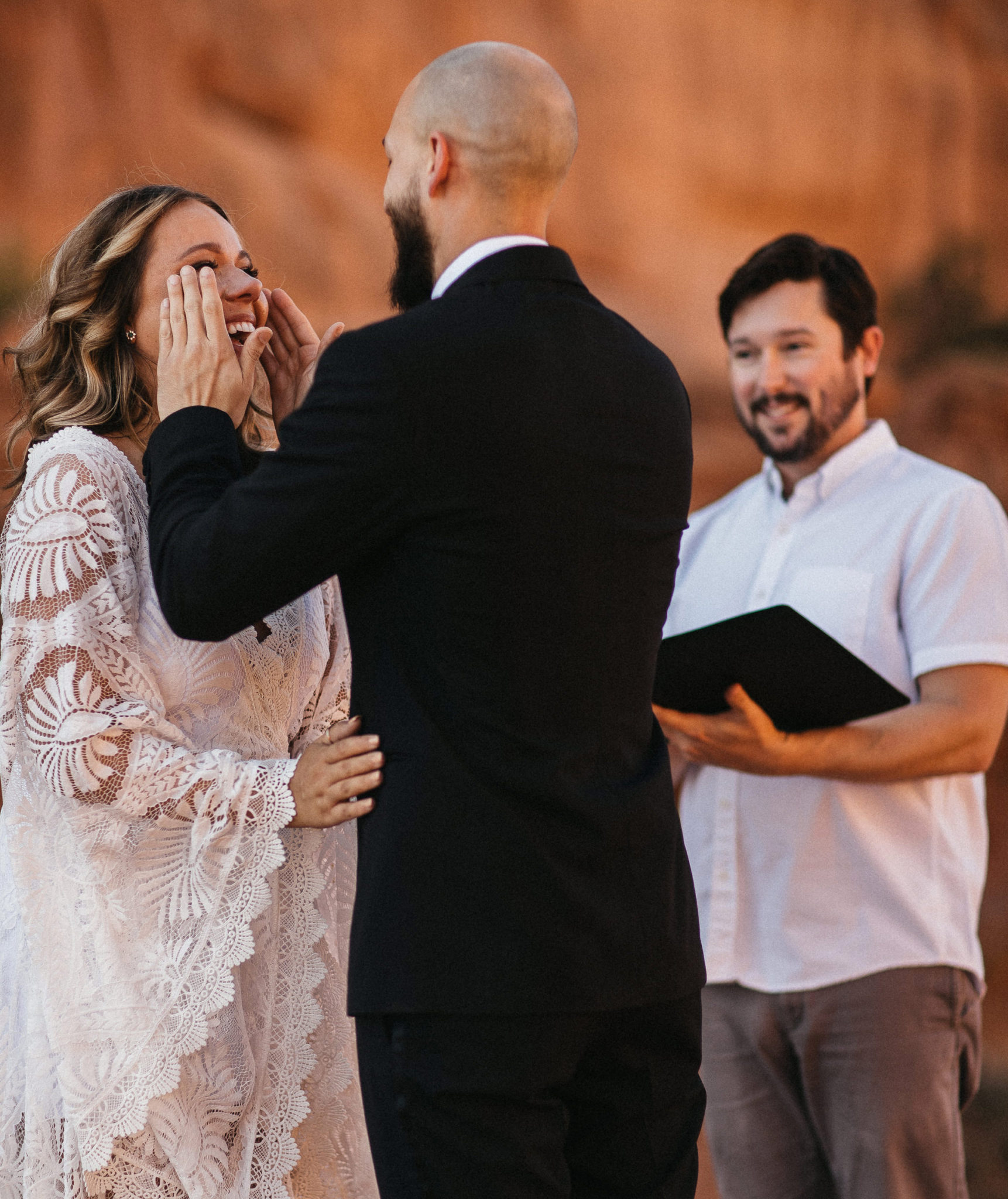 Bride Crying at Wedding Ceremony in Arches National Park