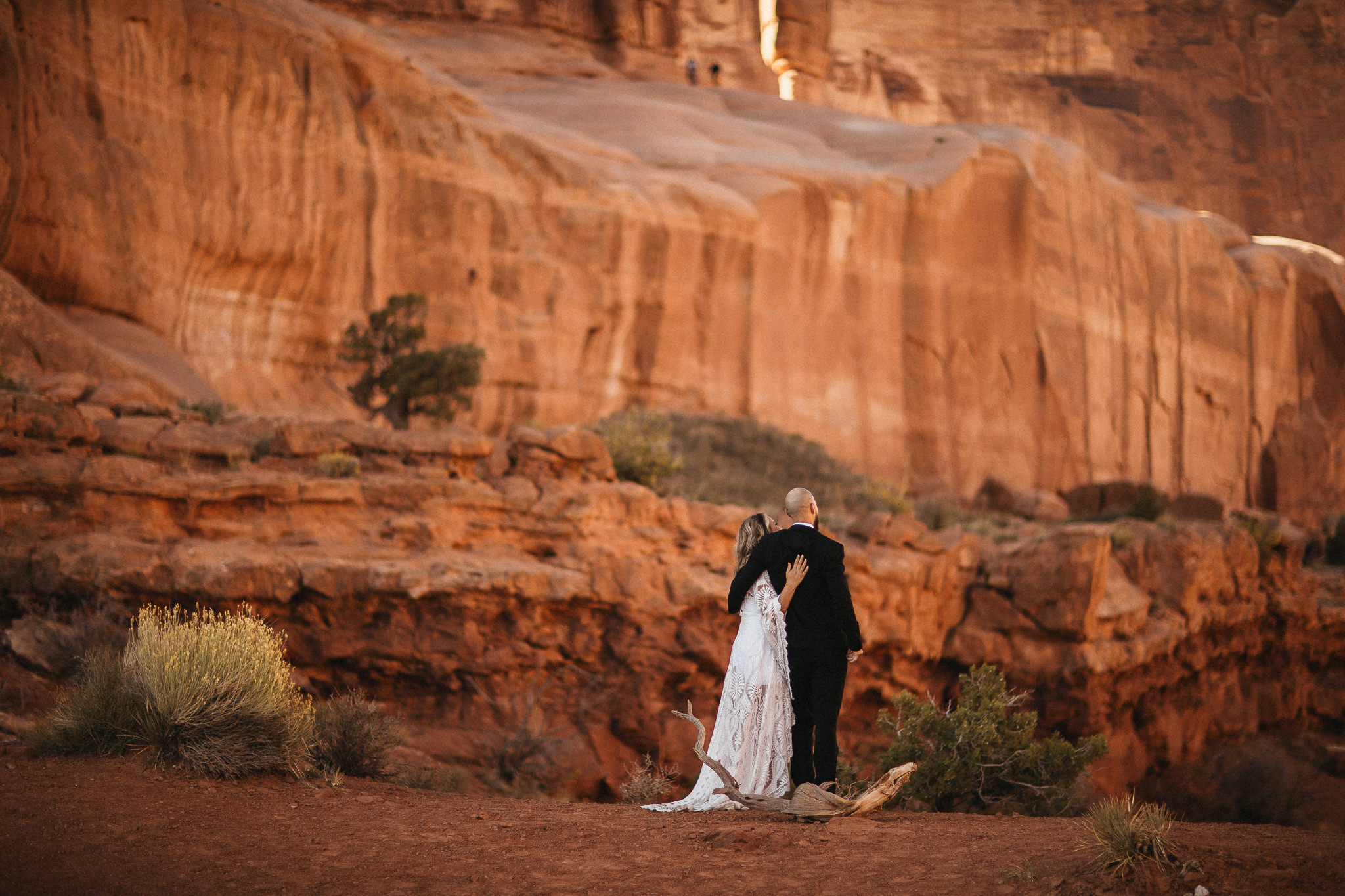 Bride and Groom in Arches National Park