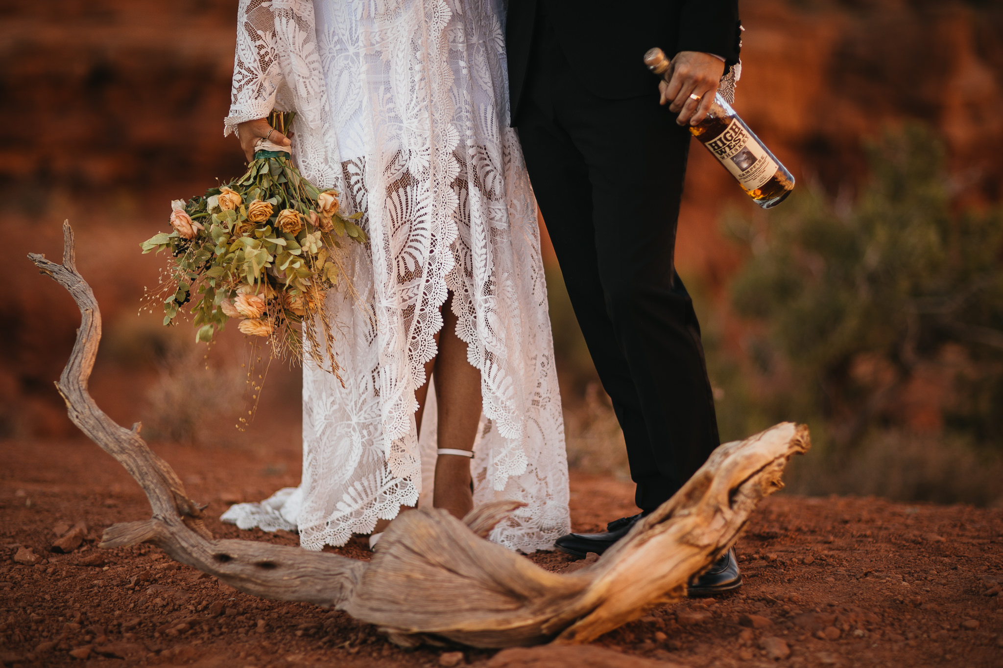 High West Whiskey and Flower Bouquet for Arches National Park Elopement