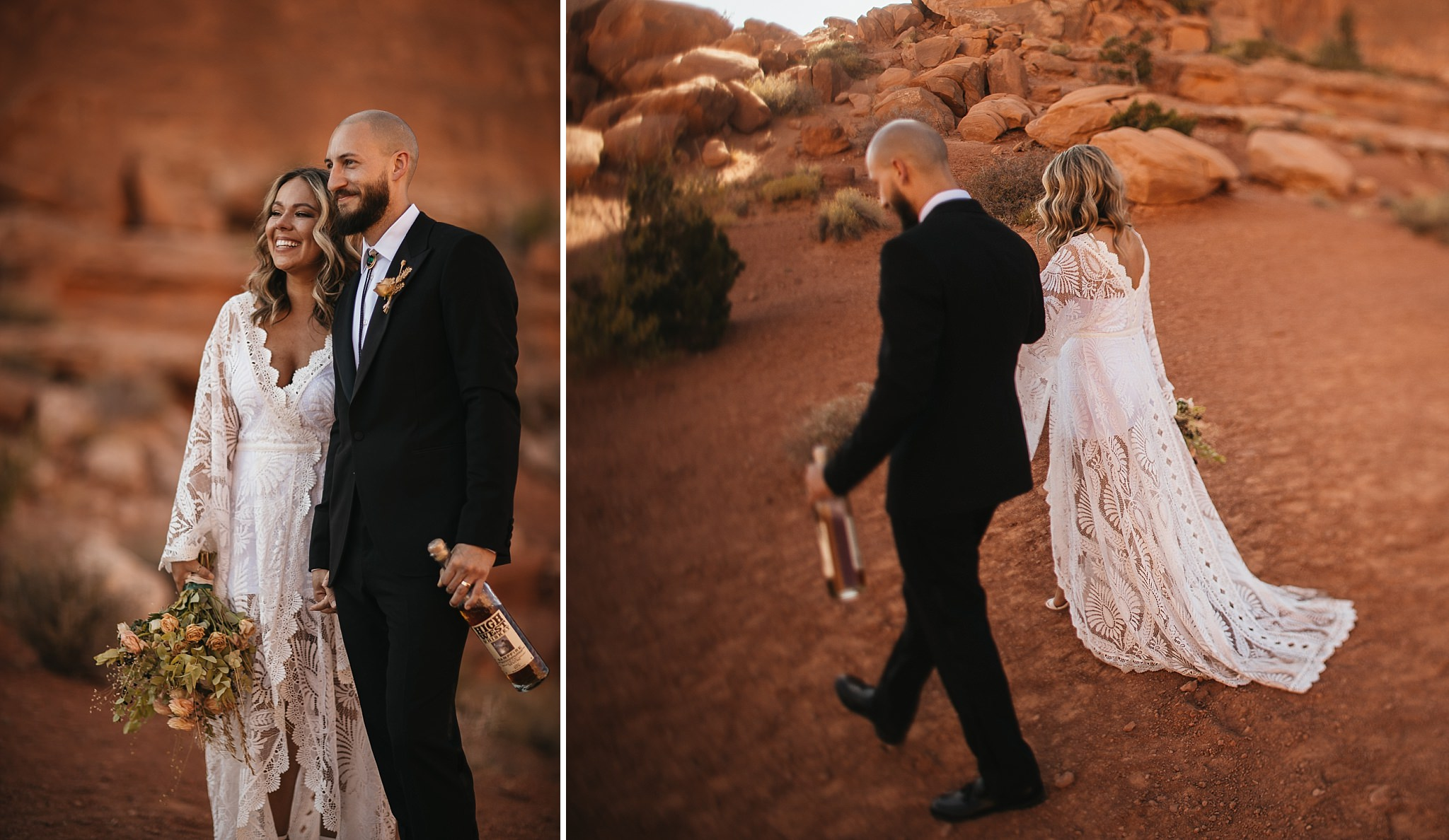 Bride and Groom take Portraits in Moab Utah