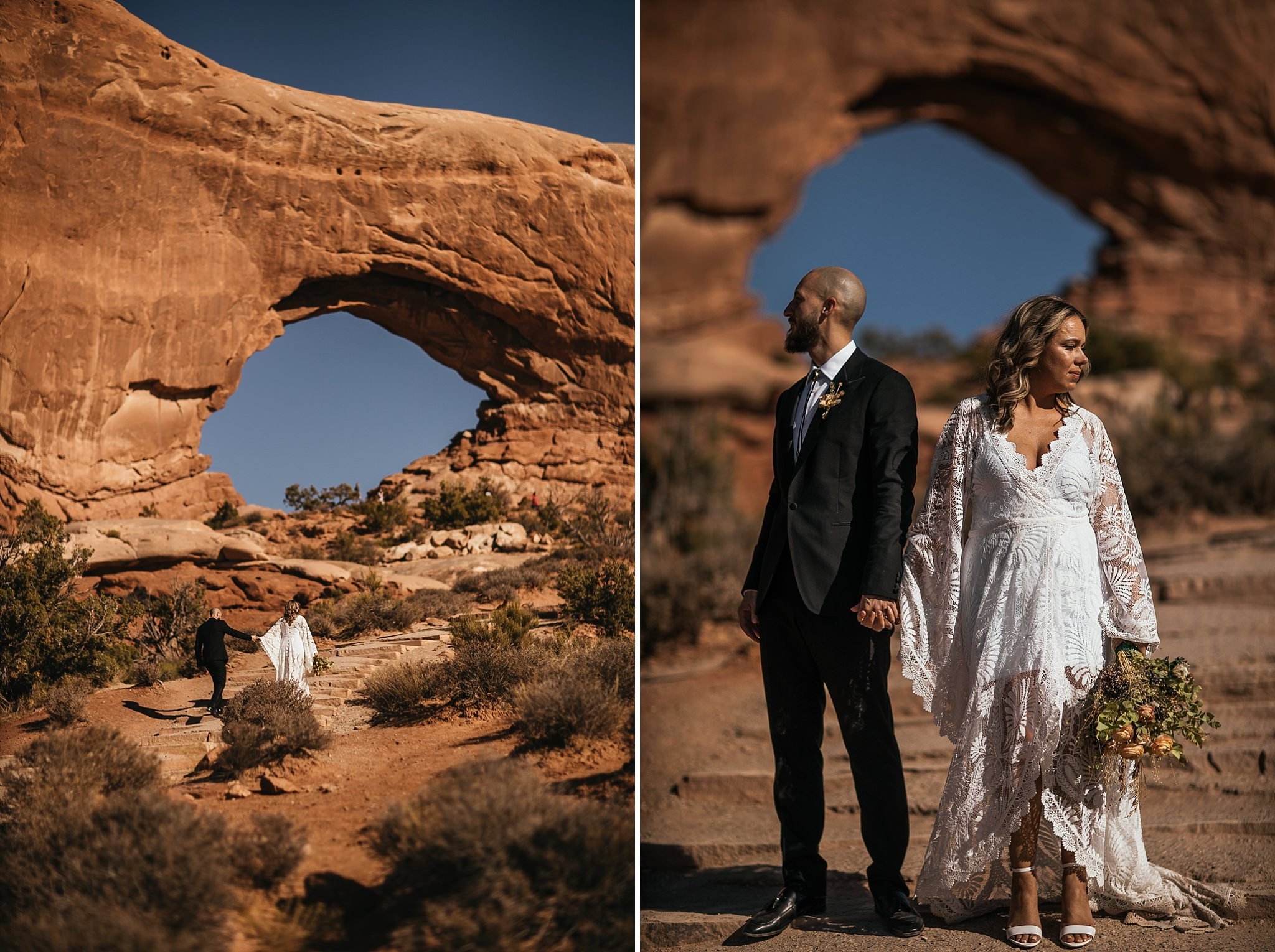 Bride and Groom taking Portraits in Arches National Park