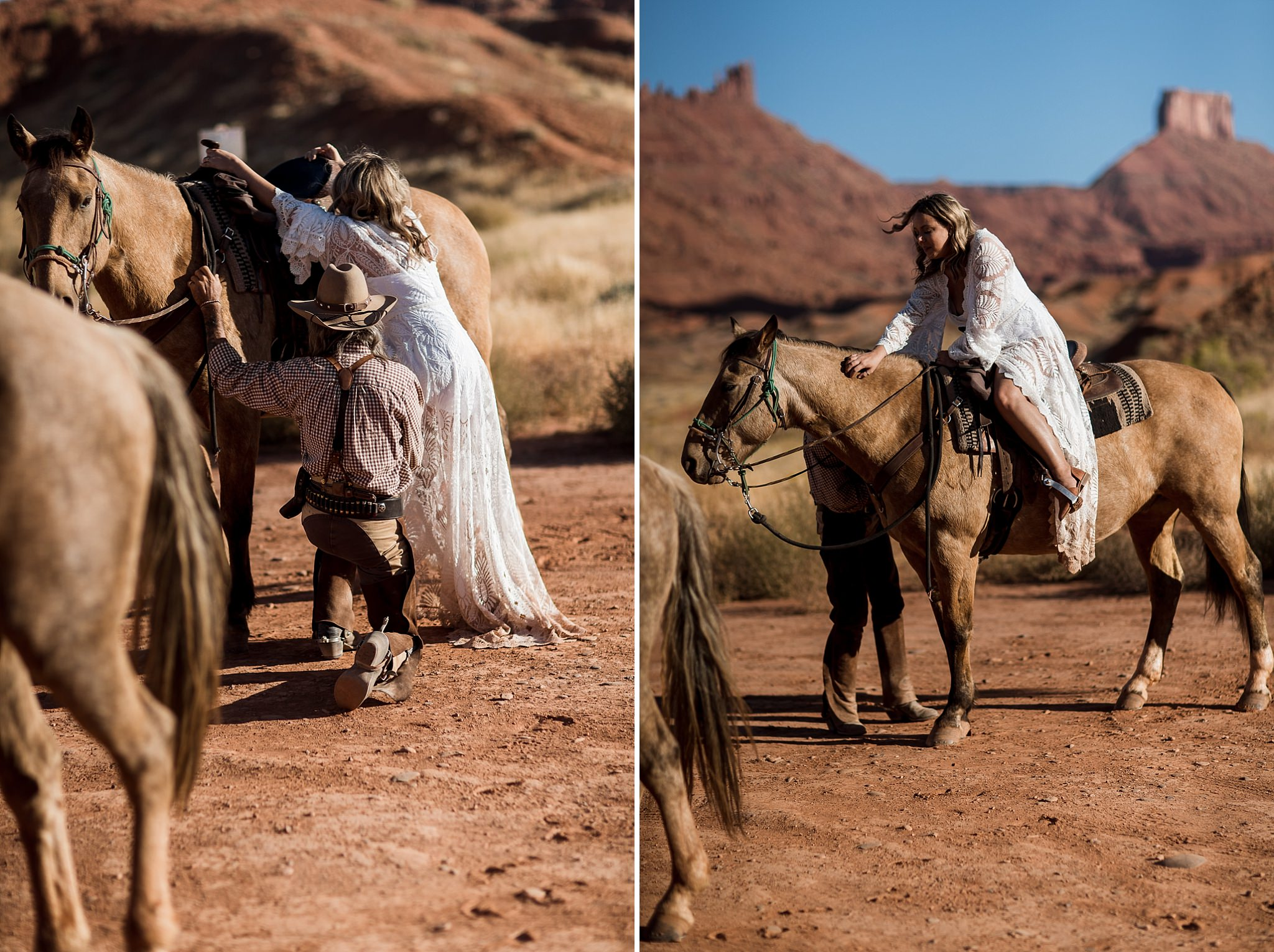 Bride Horseback Ride near Castleton Tower