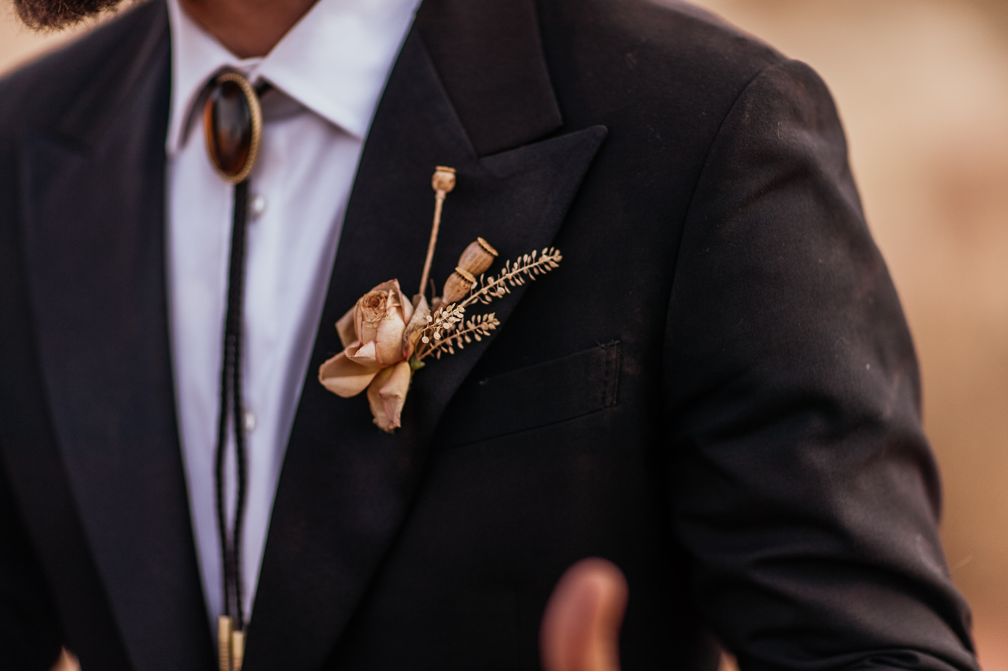 Groom Boutonniere Moab Elopement