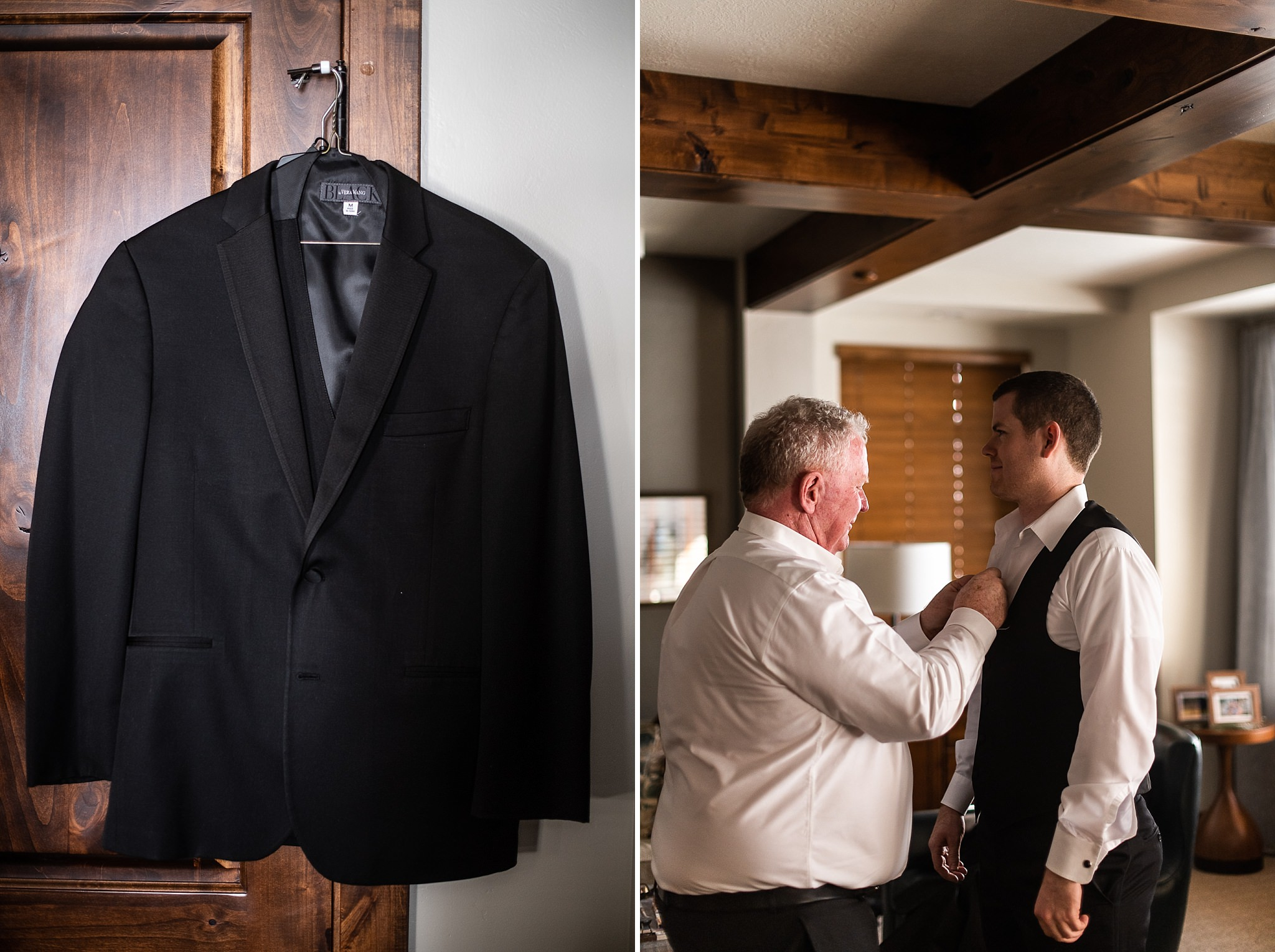 Groom Getting Ready for Wedding with Dad
