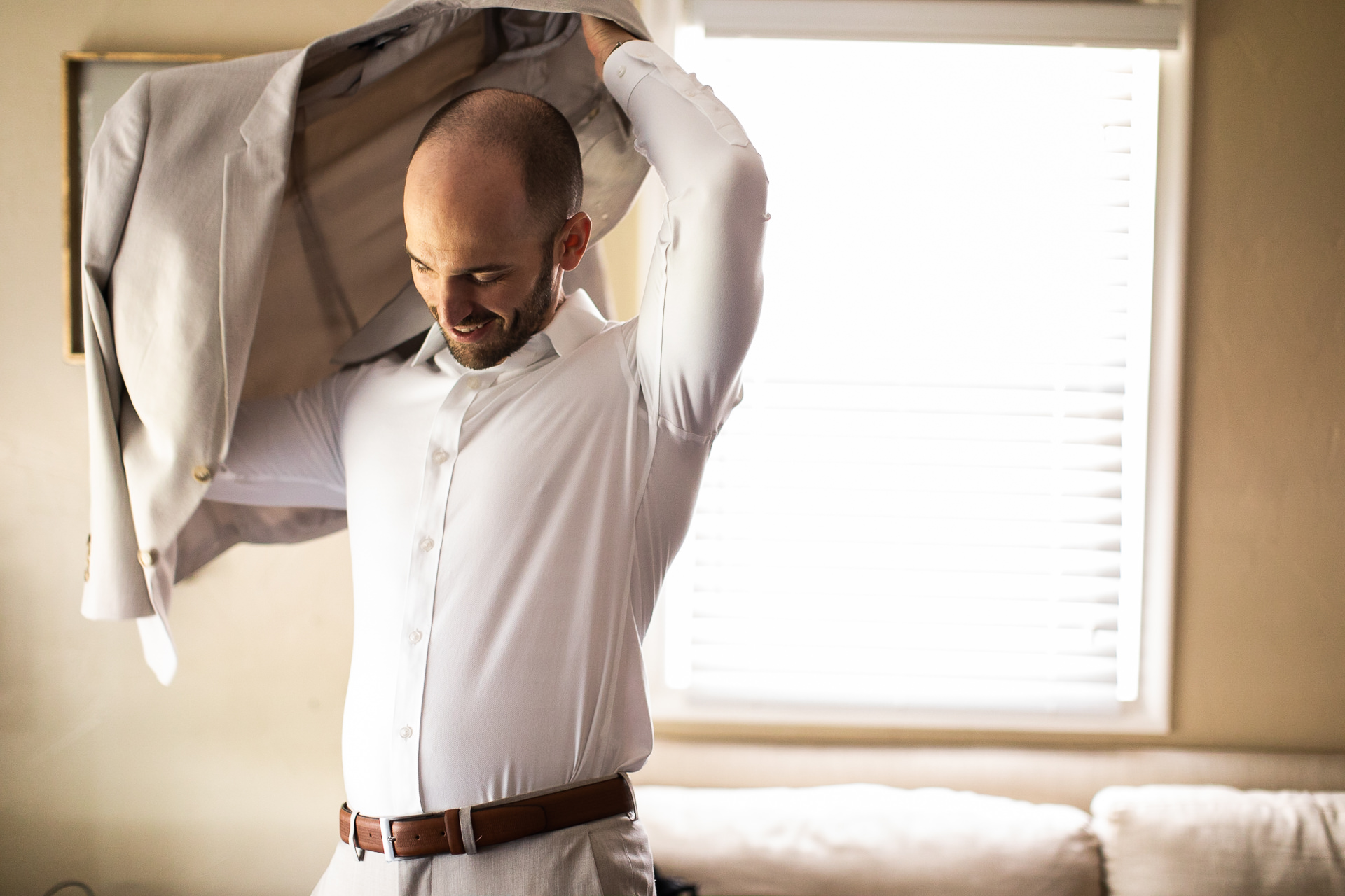 Groom gets ready for wedding