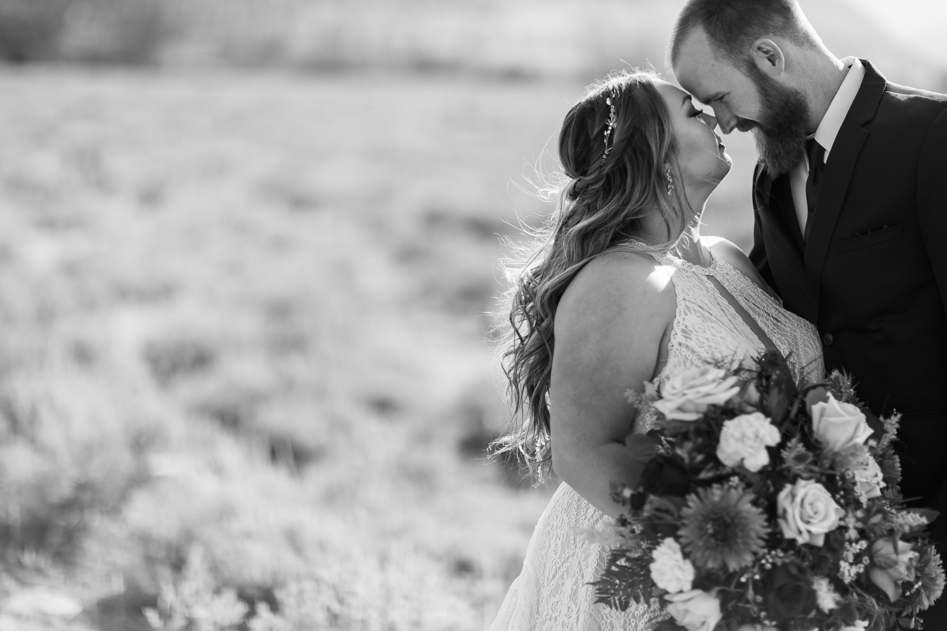 Black and White Bride and Groom First Look