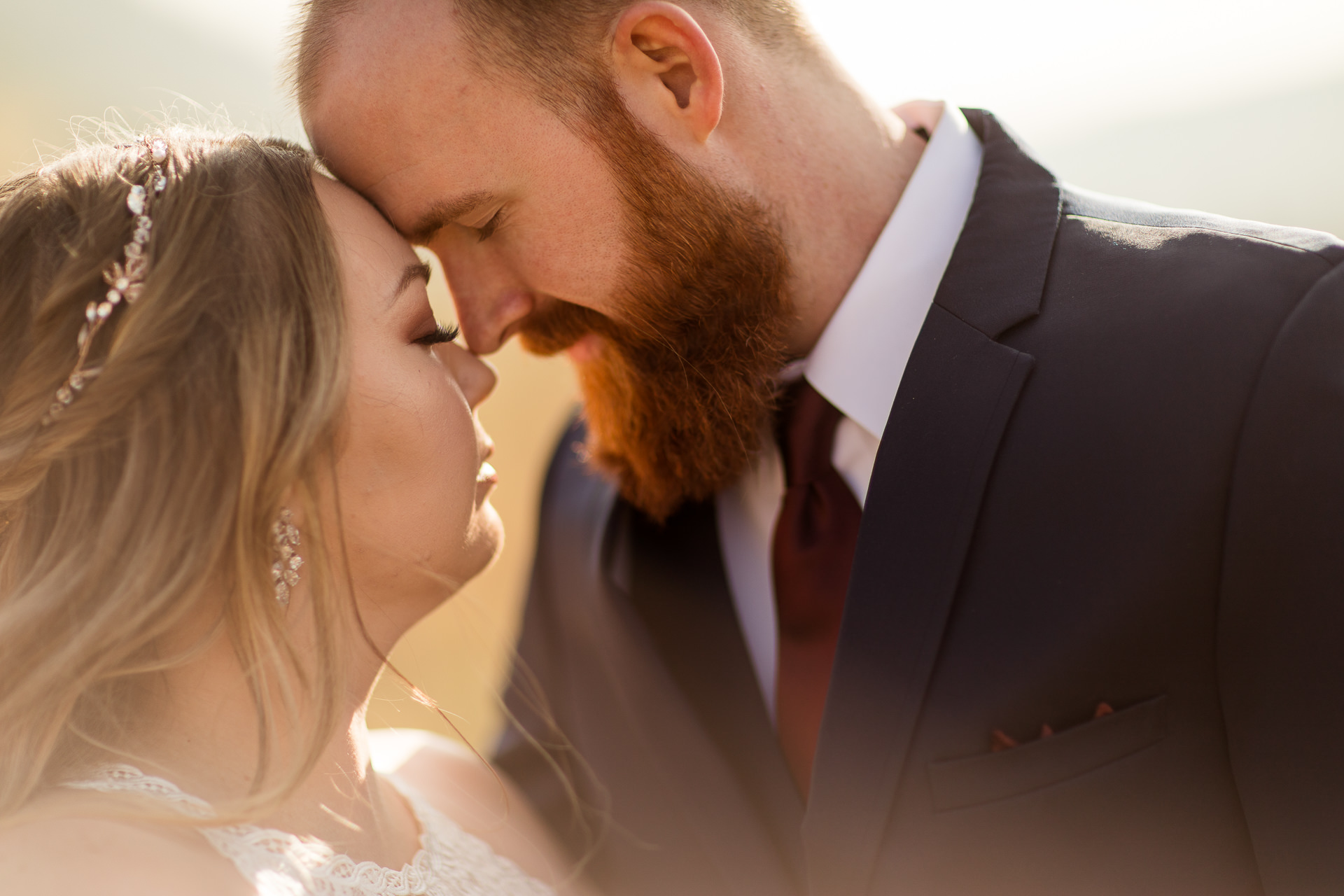 Bride and Groom Share Intimate Moment