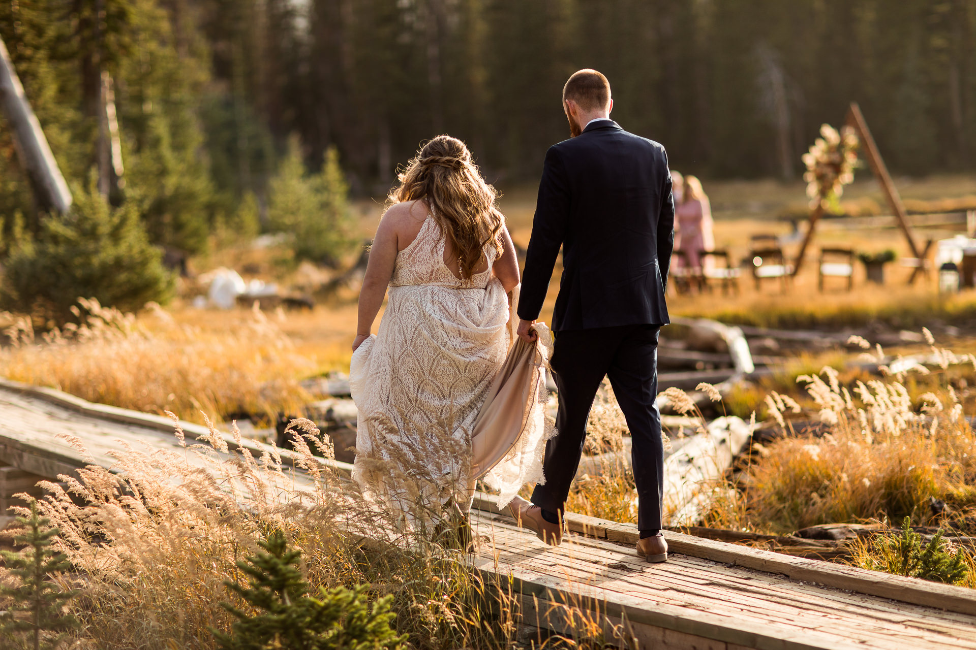 Couple Approaches Ceremony at Crater Lake