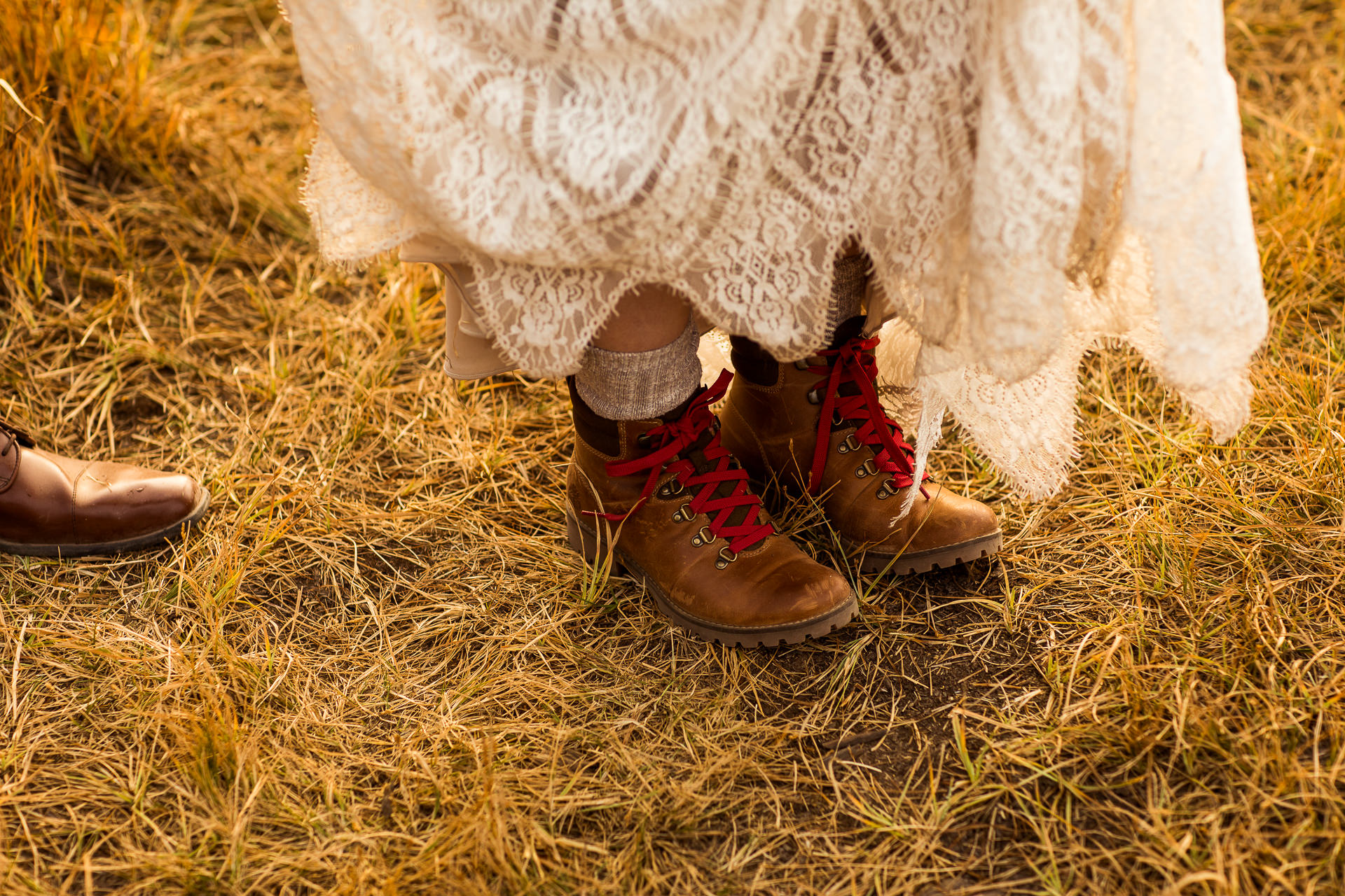 Bride with hiking shoes