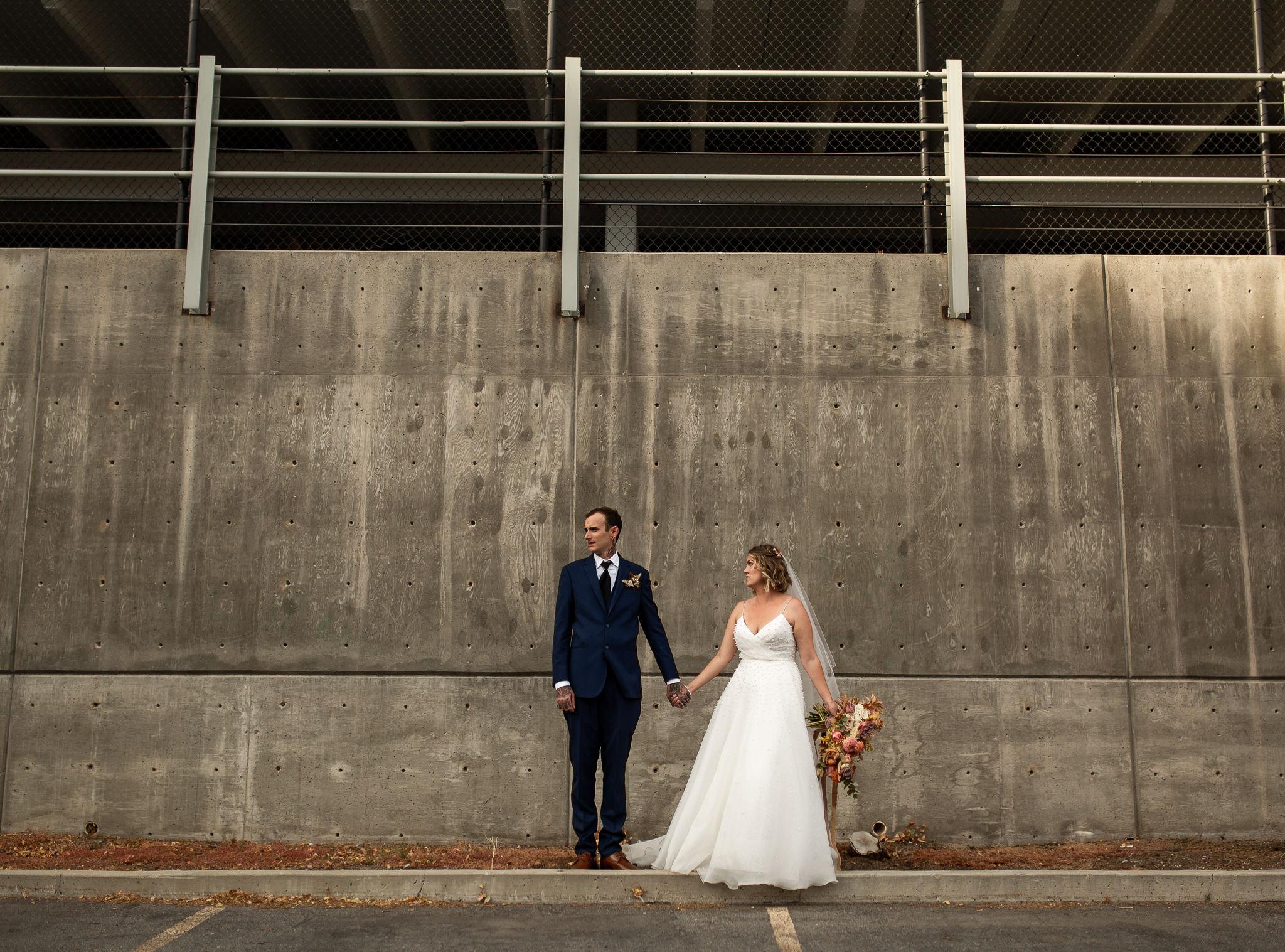 Bride and Groom Portraits Downtown Salt Lake City