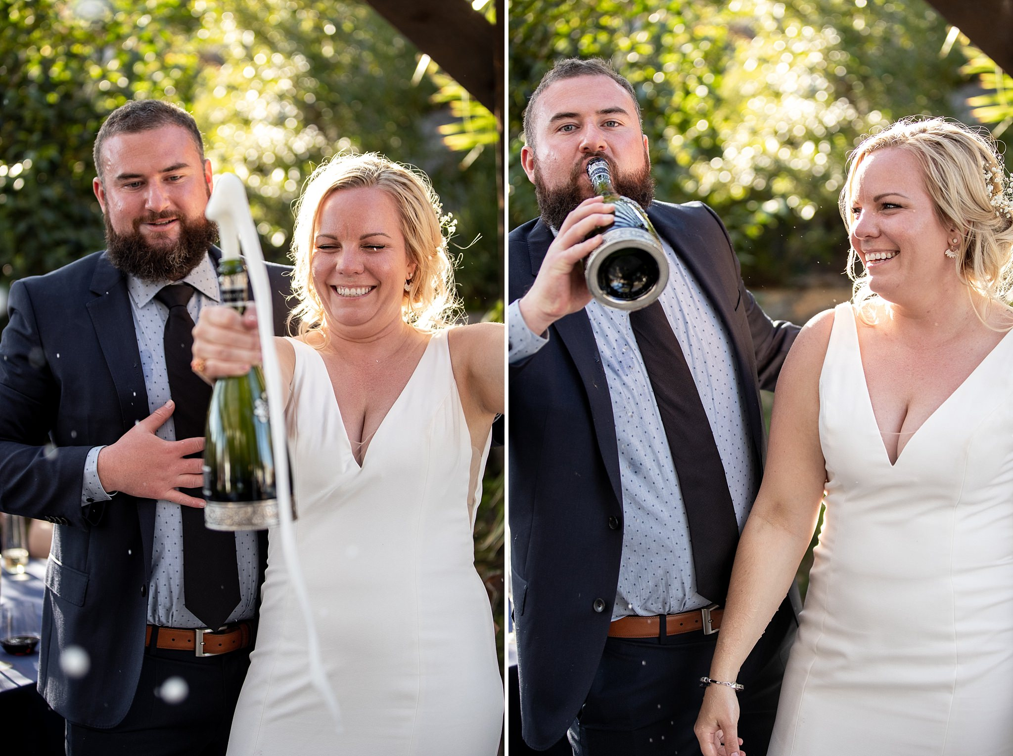 Bride and Groom Celebrate Champagne toasts