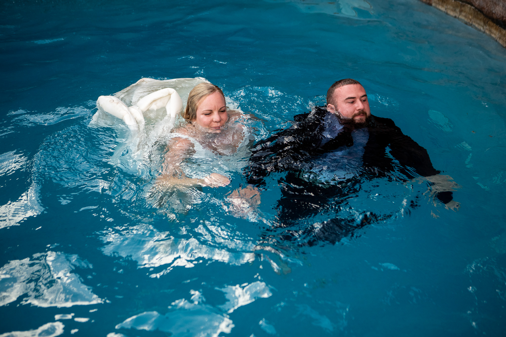 Couple Jumps in the Pool at their wedding