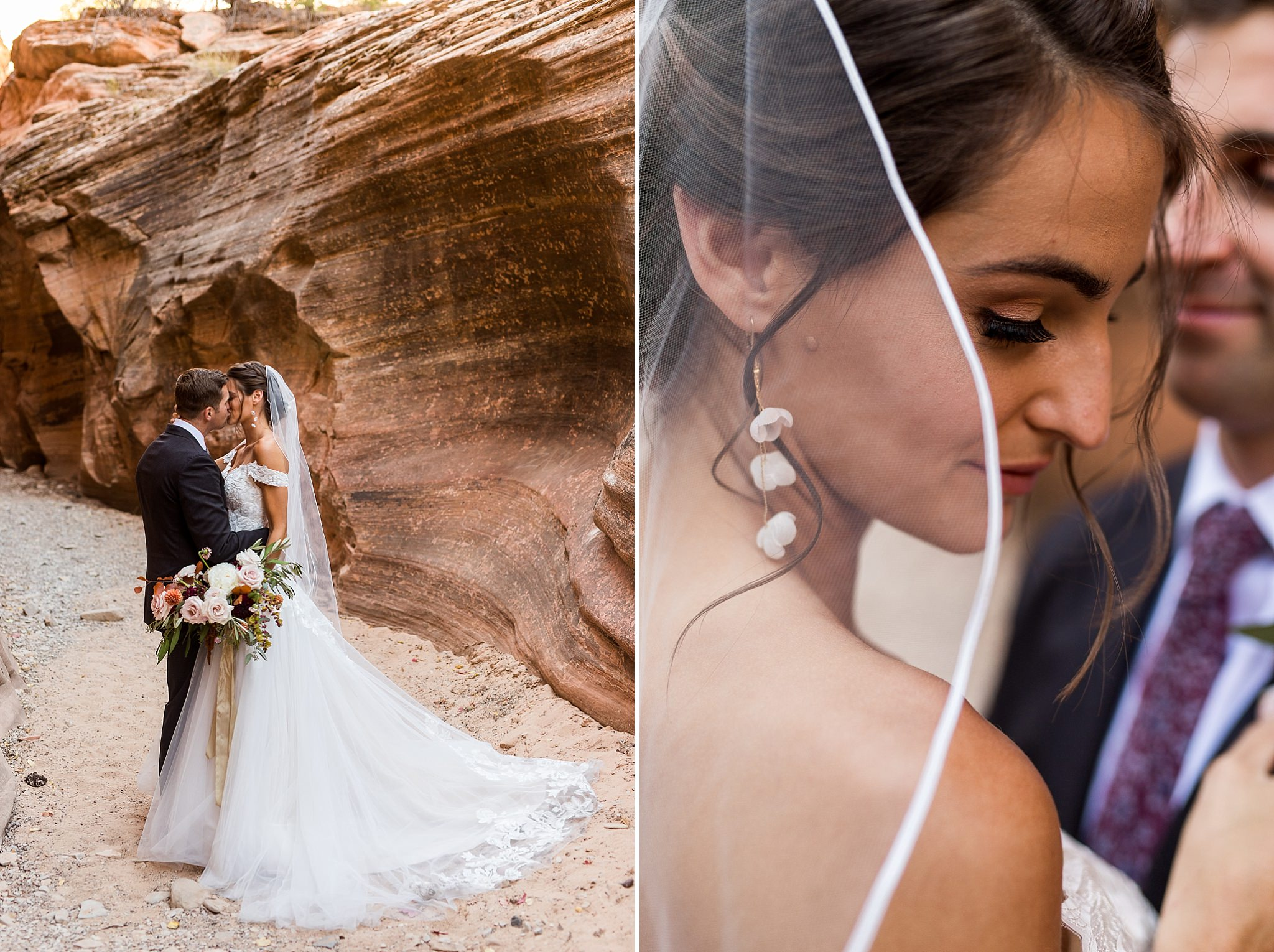 Bride and Groom Portraits in Zion National Park
