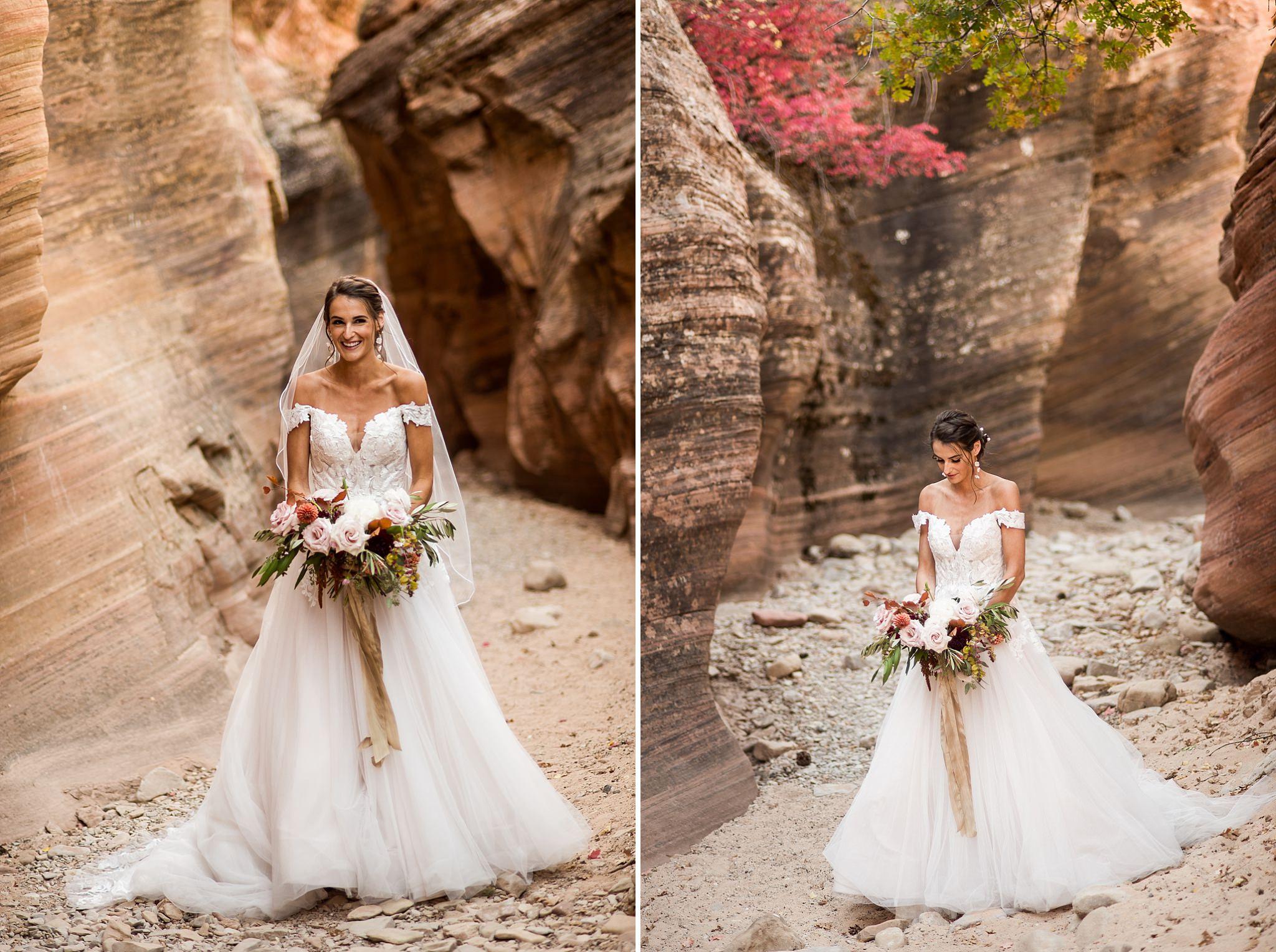 Slot Canyon Portraits of Bride