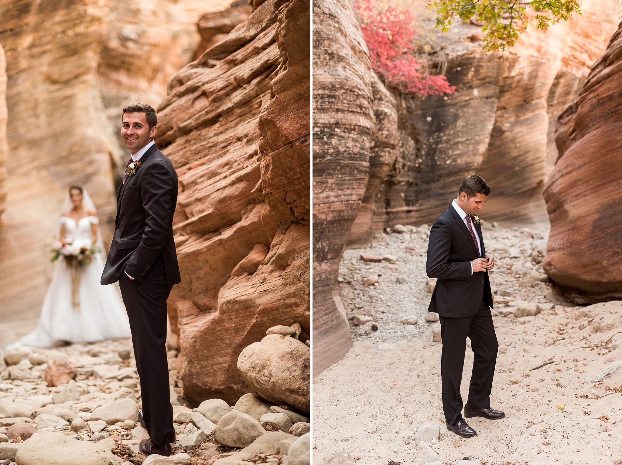 Slot Canyon Groom Portraits